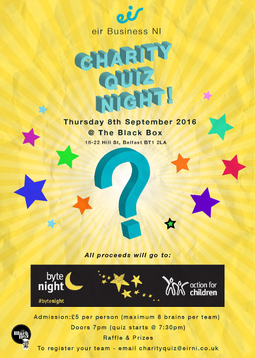 eir Business NI charity quiz in aid of Action for Children @ The Black Box