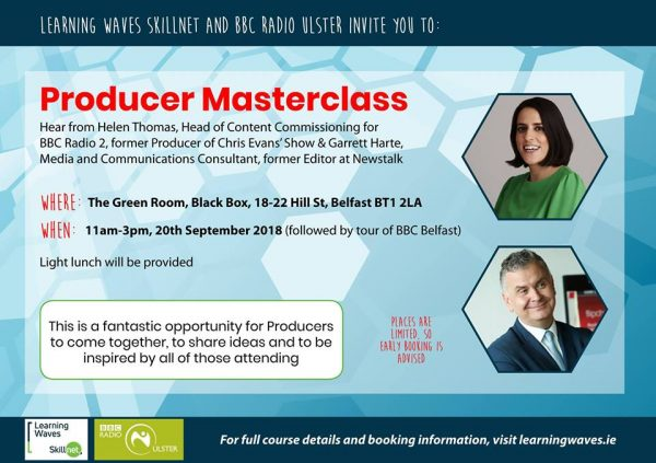 Producer Masterclass in partnership with BBC Radio Ulster @ The Green Room